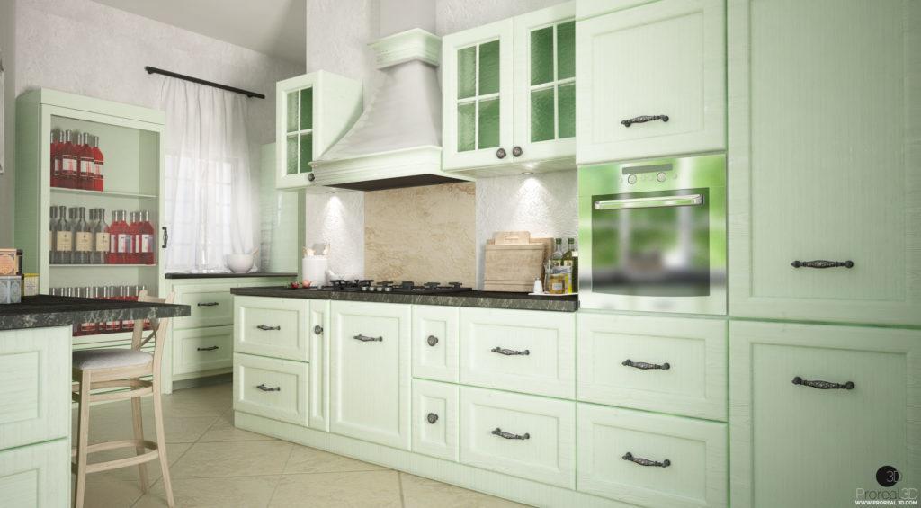 Rendering depandance 3d cucina villa