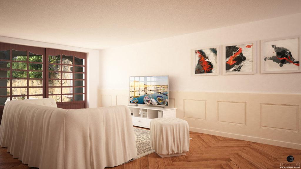 Rendering depandance 3d interno villa