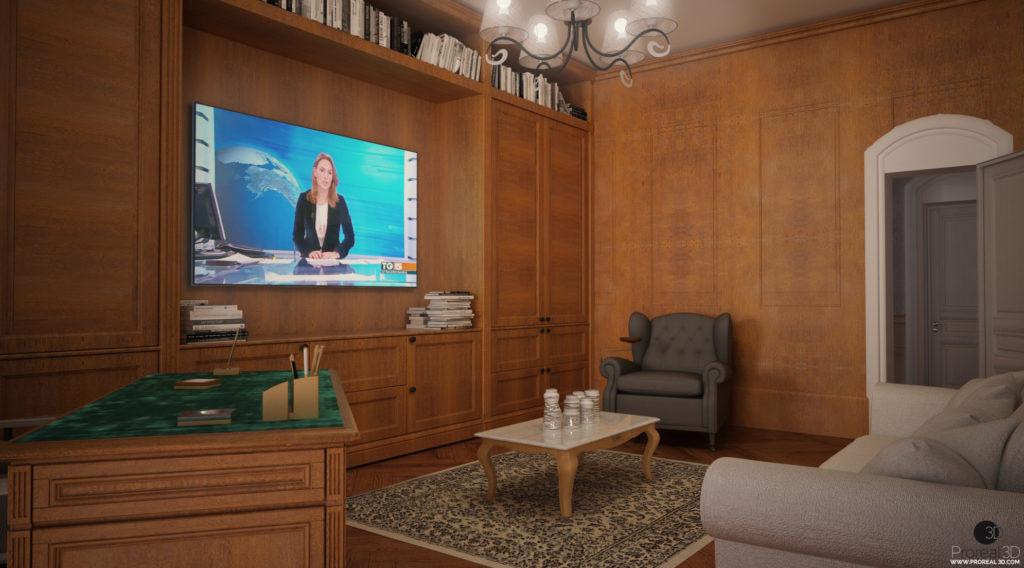 Rendering 3d studio interno villa