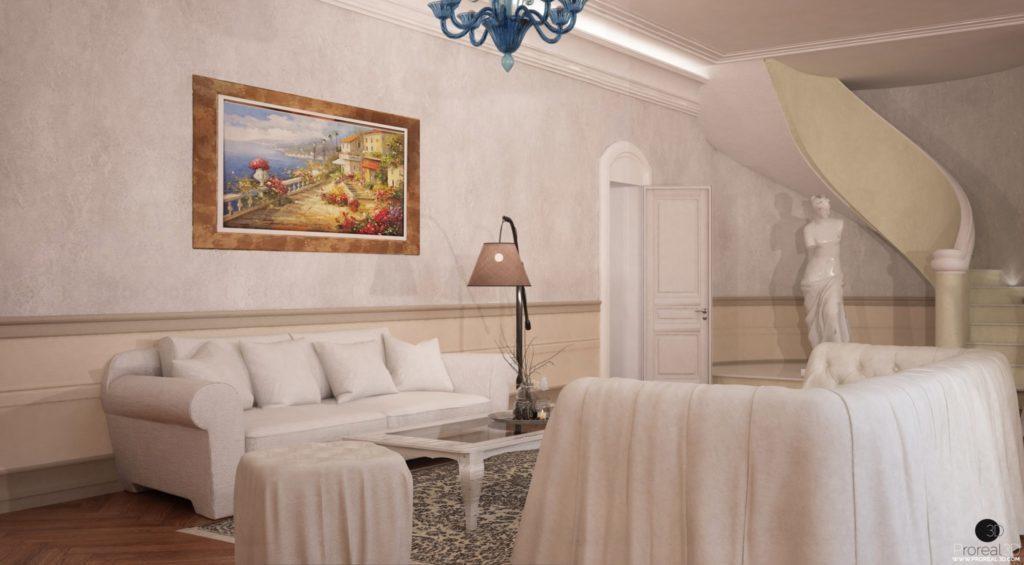 Rendering sala 3d interno villa