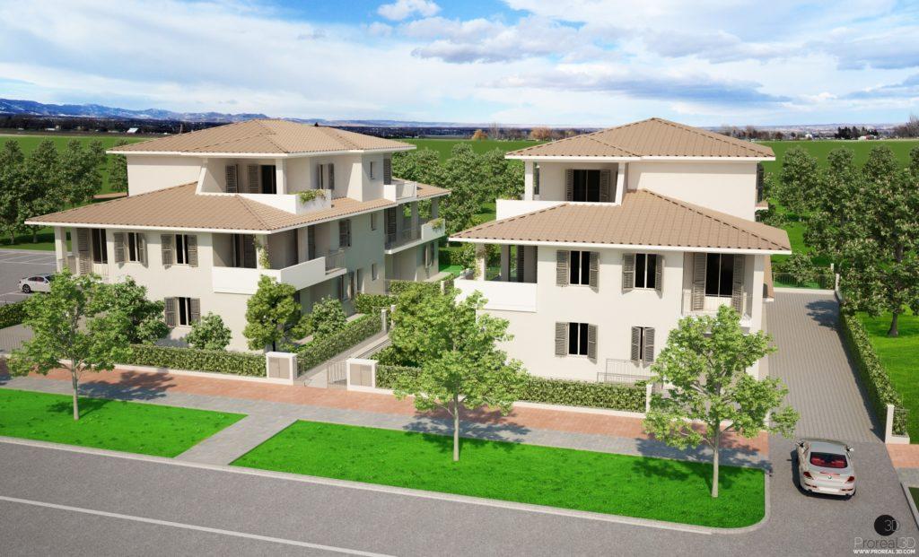 Rendering 3d esterno condominio